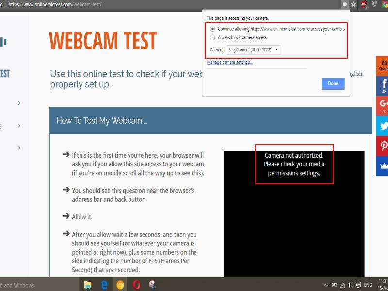 My built in webcam is not working