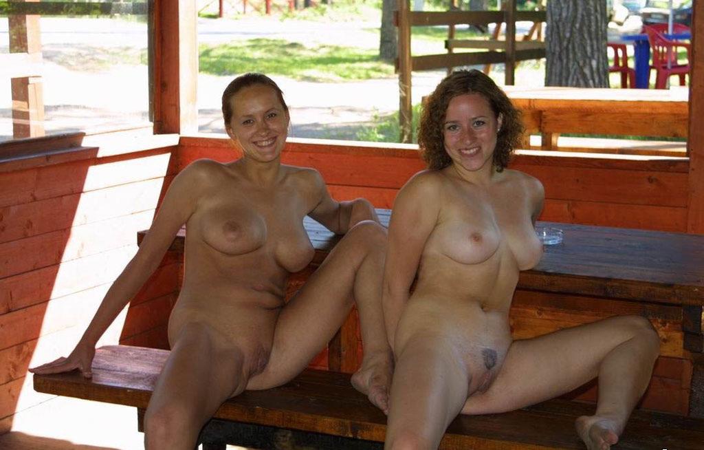 Big tits braless in public
