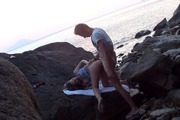 Couple beach sex on the island